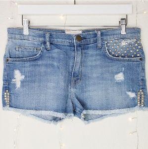 Current/Elliott Studded Denim Shorts Size 27